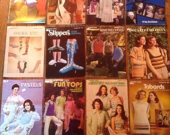 Vintage 1970's Leisure Arts Leaflet Knit Crochet Magazine Lot Instructions Patterns