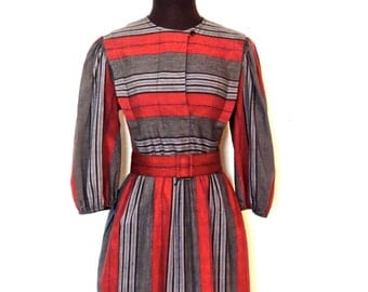 vintage striped red dress - 1960s-70s Lady Carol red/grey cotton puff-sleeve dress
