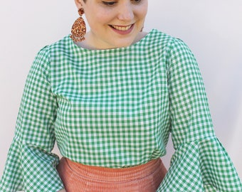 Green Flounce Blouse - Handmade by Alice - Only 6 made!
