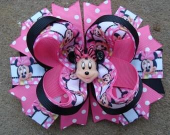 Minnie Mouse Hair Bows Large Boutique Hair Bow Pink and Black hair bow Minnie Birthday hair bow big hair bow