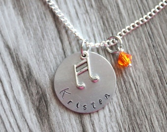 Personalized Singer Gifts Necklace Hand Stamped Pendant, Personalized Name  and Birthstone Necklace, Singer Necklace Music Note Gifts
