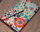 Whimsical Chick-a-Dee and Floral Multi Prints Slim Wallet Clutch