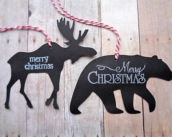 Moose and Bear Christmas Gift Tags Rustic Woodland Animal Silhouette Country Log Cabin Christmas
