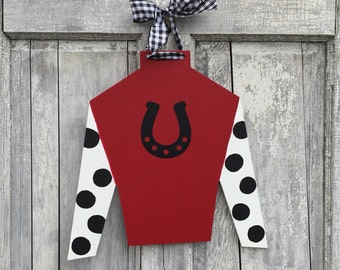 Hand painted, Derby, horse racing, horse farm, Jockey silk, wood, door hanger, wall hanger and Derby party sign