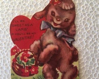 Vintage Valentine Lamb Sweet 1960's or Earlier Retro