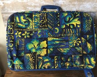 Vintage Suitcase Flower Power Hawaiian  Pattern 1970's Adorable