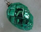 Vintage figural pine cone Christmas ornament aqua seafoam green glass West Germany feather tree ornament