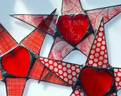 Red Hot Heart Star- 10 inch lacquered paper on glass with glass heart center with free engraving to personalize your love