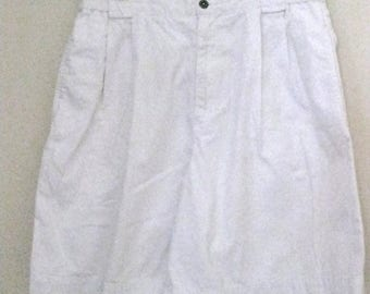 vintage 1980s Lizsport High Waisted Shorts Size 12 White Cotton