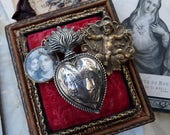 1800s Petite Antique French Silver Ex Voto Sacred Flaming Heart, Marian Talisman for the Passionate, offered by RusticGypsyCreations