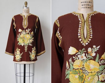 vintage 70s tunic / embroidered wool top / 1970s embroidered top / Cottonwood top