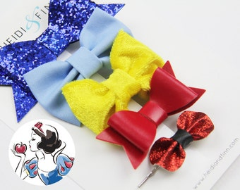 SALE Princess inspired Hairbow SET of 5 Hairclip cotton snow red blue gold sparkle velvet beauty white
