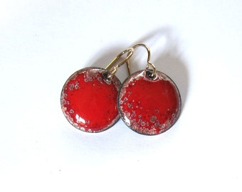 Red enamel earrings Small disc gold wire dangles Red drop earrings Unique enameled copper jewelry Gift for her