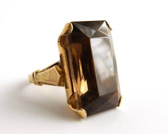 Vintage C&C 10K GF Smokey Topaz Solitaire Ring - Emerald Cut - 25 Carats - Size 6.75 - CLARK COOMBS - Huge
