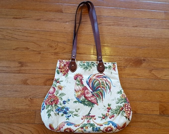 Waverly Rooster Chickens Fabric Handbag