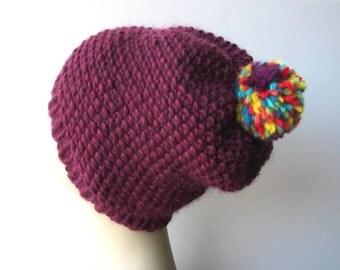 Hand Knit 100% SOFT Roving WOOL Beanie Ski Hat in Purple / Pom Pom Knit Hat / Unique Knit Hat