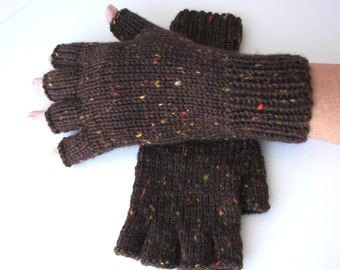 Hand Knit 100% Soft WOOL Half Finger GLOVES BrownTweed Enchanted Knit Gloves