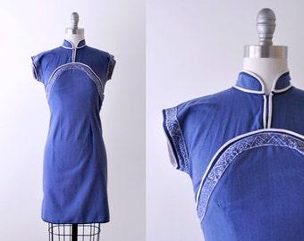 1970's indigo blue dress. 70's hand painted dress. boho. small. xs. white.