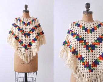 Vintage rainbow poncho. 1970's boho shawl. crochet knit cream. 70 square poncho.