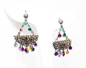 Dangling Rhinestone Basket Earrings -  Austrian Hanging Basket Screwback Earrings - Multi Colored Rhinestones - Vintage Silvertone Filigree