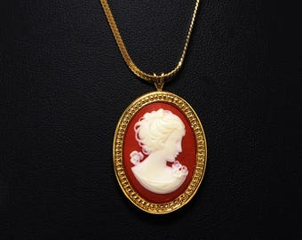 Trifari Cameo Pendant & Chain Necklace - Oval Cameo - Gold Tone Chain - Creamy White Victorian Woman with Orange Background  - Vintage 1990s