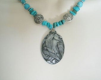 Turquoise Eagle Necklace, turquoise jewelry southwestern jewelry southwest jewelry native american jewelry style country western cowgirl