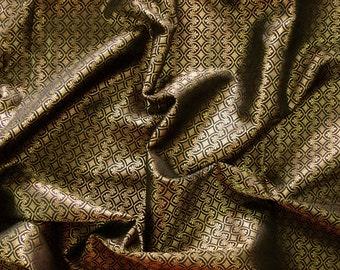 brocade fabric indian fabric black and gold fabric black brocade - br115 - 1 yard