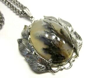 Vintage Sterling Dendrite Pendant Genuine Agate Sterling Silver Handcrafted Pendant Necklace Natural Agate Scene
