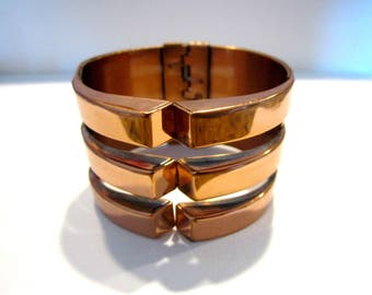 """Vintage Renoir Copper Cuff Bracelet Ring Clamp Vintage Copper Jewelry Signed 6"""" Clamper Geometric Under 50 Collectible Jewelry"""