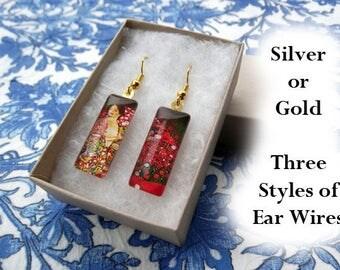 Klimt The Dancer earrings, Klimt earrings, small glass earrings, art nouveau earrings, red floral earrings, bohemian, asymetrical