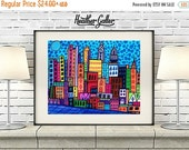 50% Off Today- Philadelphia Art  Art Print Poster by Heather Galler Abstract Modern Folk Art City Cityscape (HG756)
