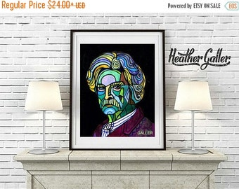 50% Off Today- Mark Twain Folk Art - Art Poster Print of painting by Heather Galler of painting Abstract Modern Portrait (HG609)