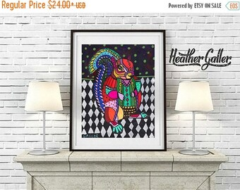 50% Off Today- Squirrel art Art Print Poster by Heather Galler  Folk Art (HG846)