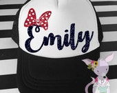 Kids Trucker Hat Minnie Bow Name Hat Glitter hat birthday Girls kids hipster kids Vacation hat baseball hat girls Kids name hat Minnie Bow