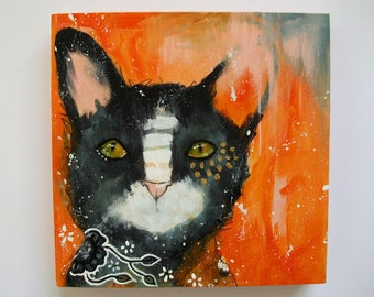 Original cat painting mixed media art painting on wood canvas 6x6 inches - Cleo