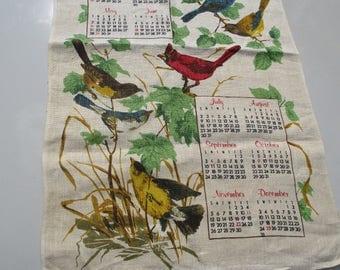 FREE SHIPPING Vtg 1978 Mid Century I Will Sing Praises Unto The Lord Multi Bird Folk Art Wall Hanging Calendar Dish Tea Towel