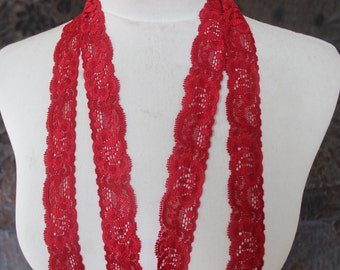 Fancy red color  stretch  lace  4 yard listing