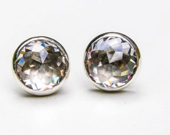 Silver Stud, Lab diamonds studs, 925 Silver sterling Studs, wedding stud , Anniversary Earrings, Wedding Earrings, White Topaz earrings 10mm