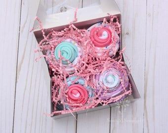 Baby girl shower gift idea, Baby cupcake gift set, Baby bodysuits and baby washcloths, New mom gift idea, baby gift set, Mommy to be