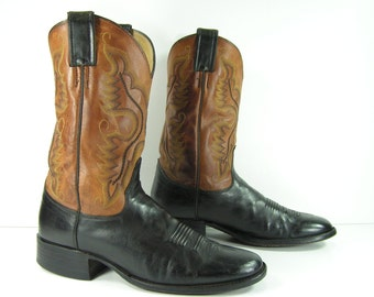 vintage justin cowboy boots women's 10 black brown western cowgirl leather or mens 8.5 D