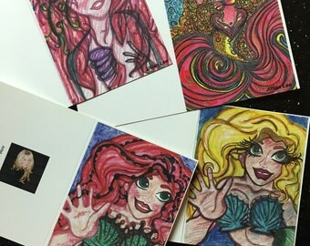 Set of four Original Art Mermaid Cards and envelopes.