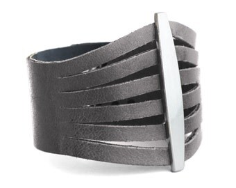 Grey Leather Bracelet, Womens leather cuff  - the Flare