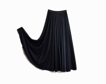 Vintage 90s Lyrical Dance Skirt / Floor Length Black Skirt / Circle Skirt - women's small/medium