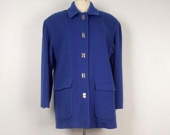 Ladies Beautiful Royal Blue Wool Blend Coat 80s 90s vintage toggle winter car coat long jacket large Mario de Pinto