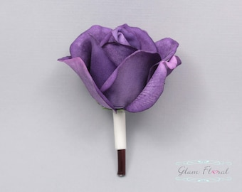 Purple Rose Boutonniere . Real Touch Flowers. groom, groomsmen, prom pin on flower, button hole, Caroline Rose Collection