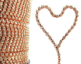 NEW SS12 RoseGold Rhinestone Chain, Trim, Clear Crystal, Vintage Trim, Wedding Cake Topper, Bouquet Chain, 3.2mm, 3 feet length