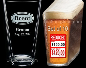 Groomsman - Best Man - Groom - Set of 10 Personalized Etched PINT BEER GLASS - Ships to Canada
