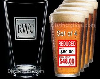 Gifts for Groomsmen Set of 4 INITIAL MONOGRAM BEER Pint Glasses - Personalized Beer Glass Etched Monogram Glass - Ships to Canada & U.S.A.