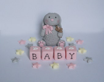 Handmade Edible Rabbit Girl Christening, Baby Shower Birthday Cake Topper/Dec