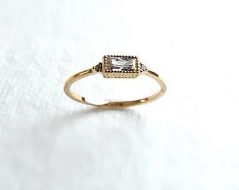 Baguette Ring in Yellow Gold fill, Promotion - radiant cushion diamond skinny ring, stackable ring